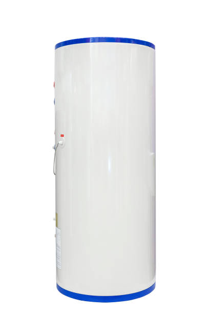 White air source heat pump water heater isolated on a white background. Including clipping path stock photo