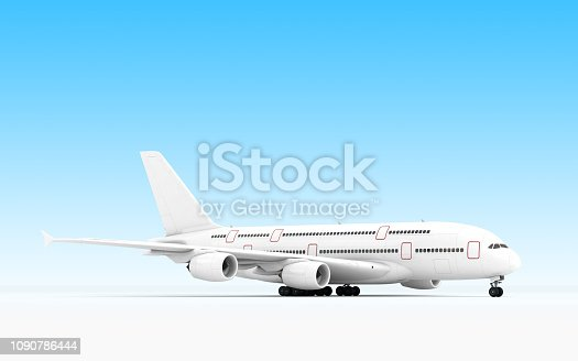 🔥 3D rendering of Airbus A380 flying in blue sky, remoted