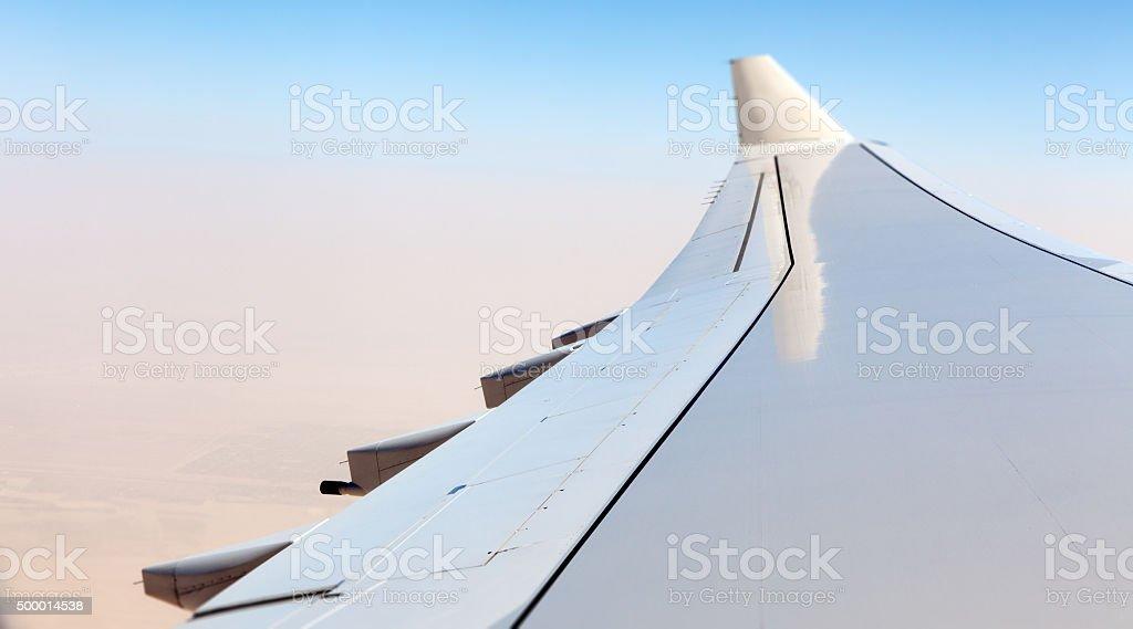White Airplane Wing stock photo