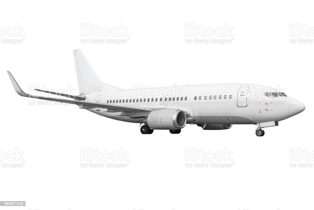 白色飛機與底盤輪子隔絕在白色背景。 - 免版稅乘客圖庫照片