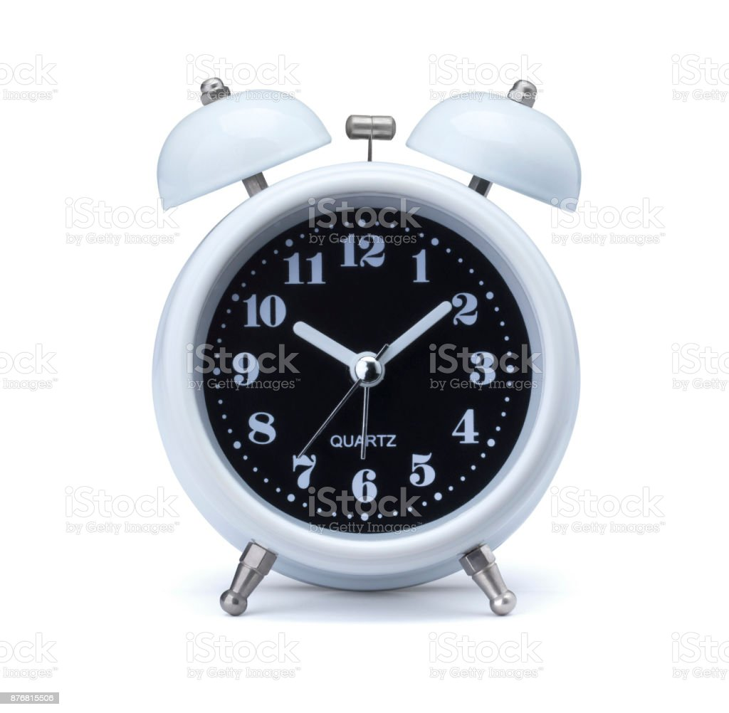 white alarm clock. Old fashioned alarm clock or watch on white background. time concept with metal bell vintage alarm in retro style isolated with clip path - easy to die cut out stock photo