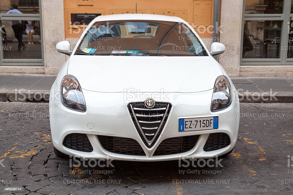White Alfa Romeo Giulietta Type 940 car stock photo