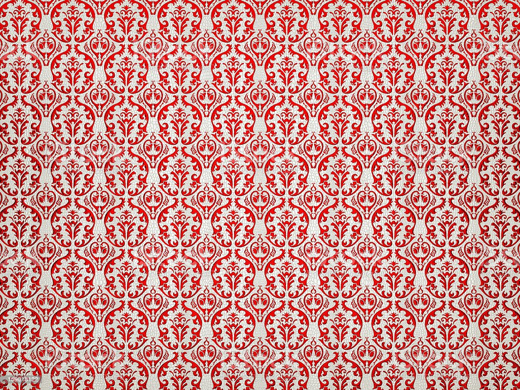 White Alligator skin background with red victorian ornament royalty-free stock photo