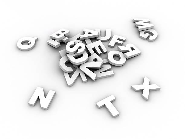 White alphabet stock photo