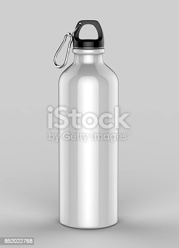 852024650istockphoto White Aluminium metal shiny sipper bottle for mock up and template design. 852022768