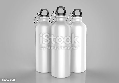 852024650istockphoto White Aluminium metal shiny sipper bottle for mock up and template design. 852025426