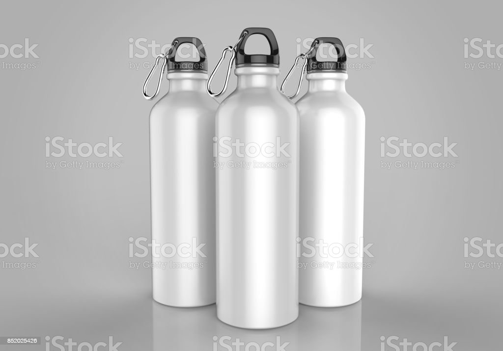 White Aluminium metal shiny sipper bottle for mock up and template design. stock photo