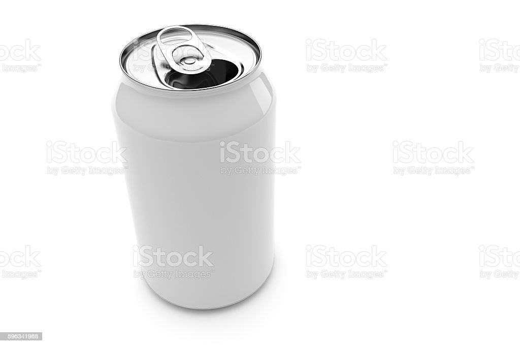 White Aluminum Beverage Can Isolated White Background, 3d illustration royalty-free stock photo