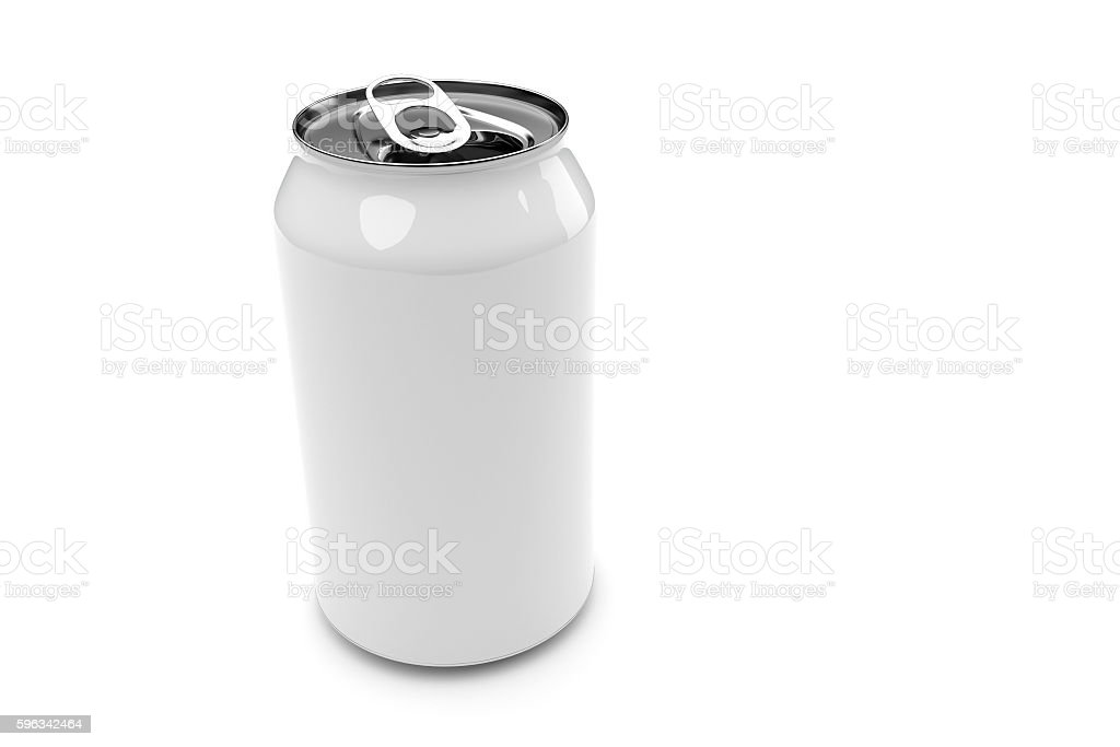 White Aluminum Beverage Can Isolated White Background, 3d illustration royalty-free stock photo