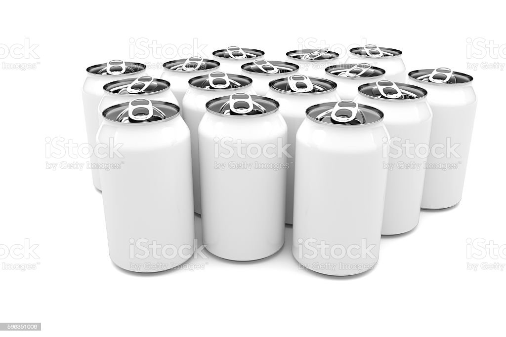 White Aluminum Beverage Cans Isolated On A White Background, illustration Lizenzfreies stock-foto