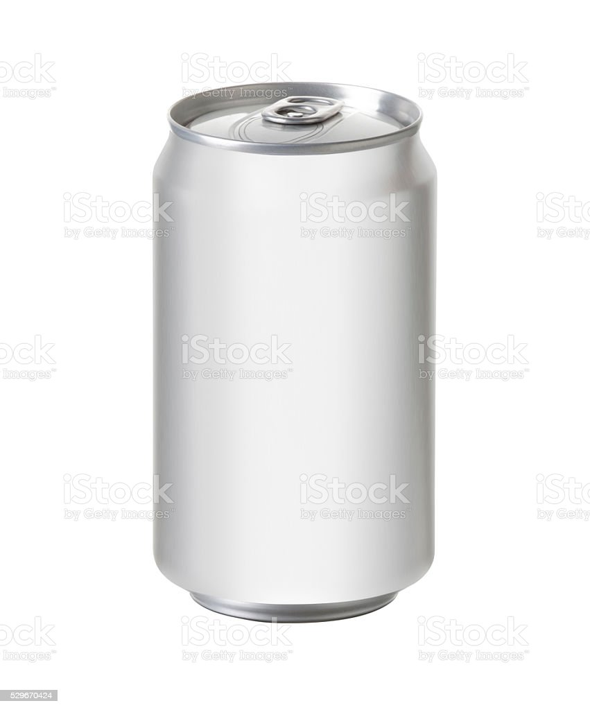 white aluminum can with space for design and clip path stock photo