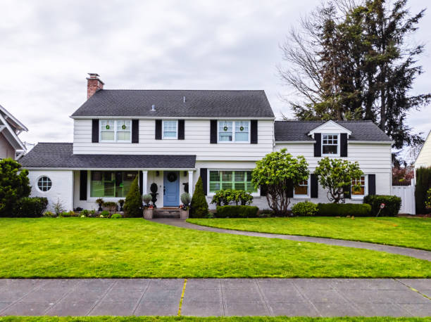 White American Colonial Style House Exterior stock photo