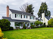 istock White American Colonial Style House Exterior 1220828915