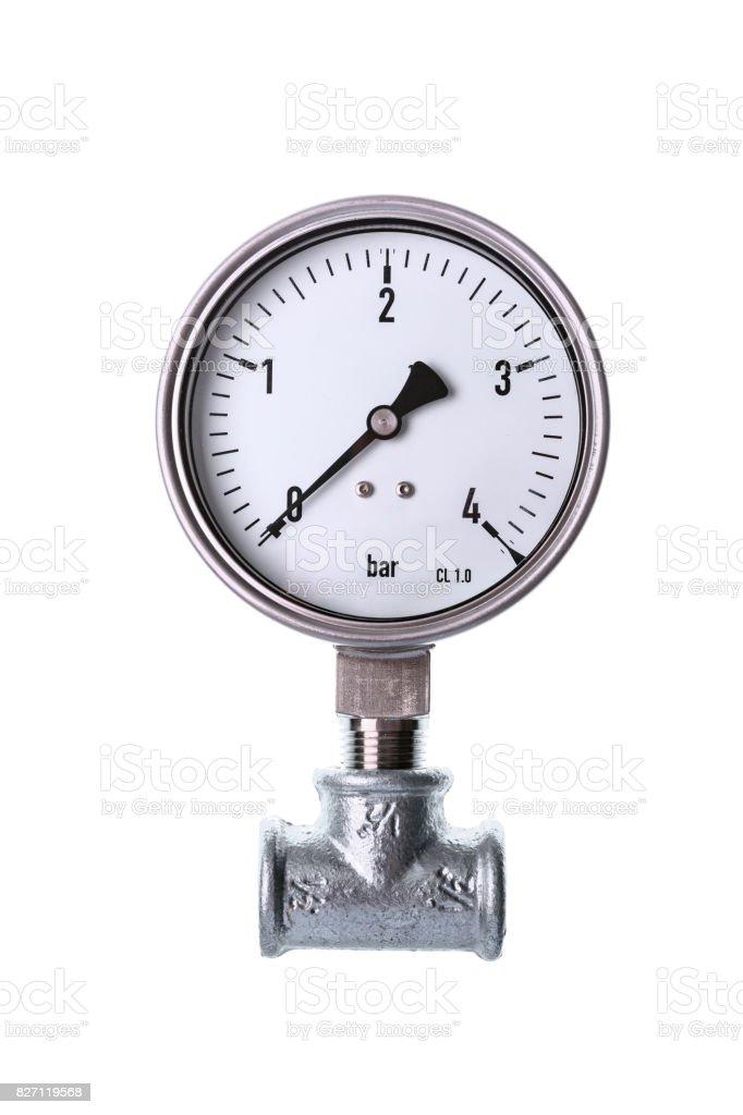White analog manometer stock photo