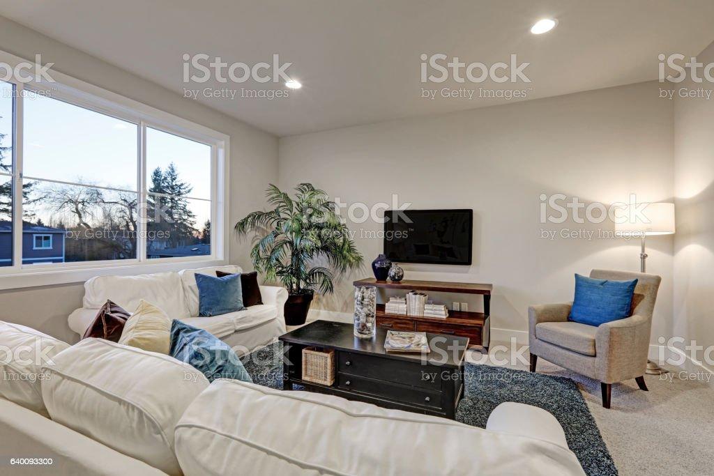 White And Beige Living Room Interior With Blue Accent Rug Stockfoto und  mehr Bilder von Architektur