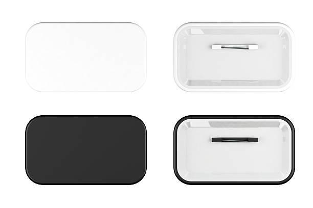 blanc et noir boutons sur le devant et dans le dos. - épingler photos et images de collection