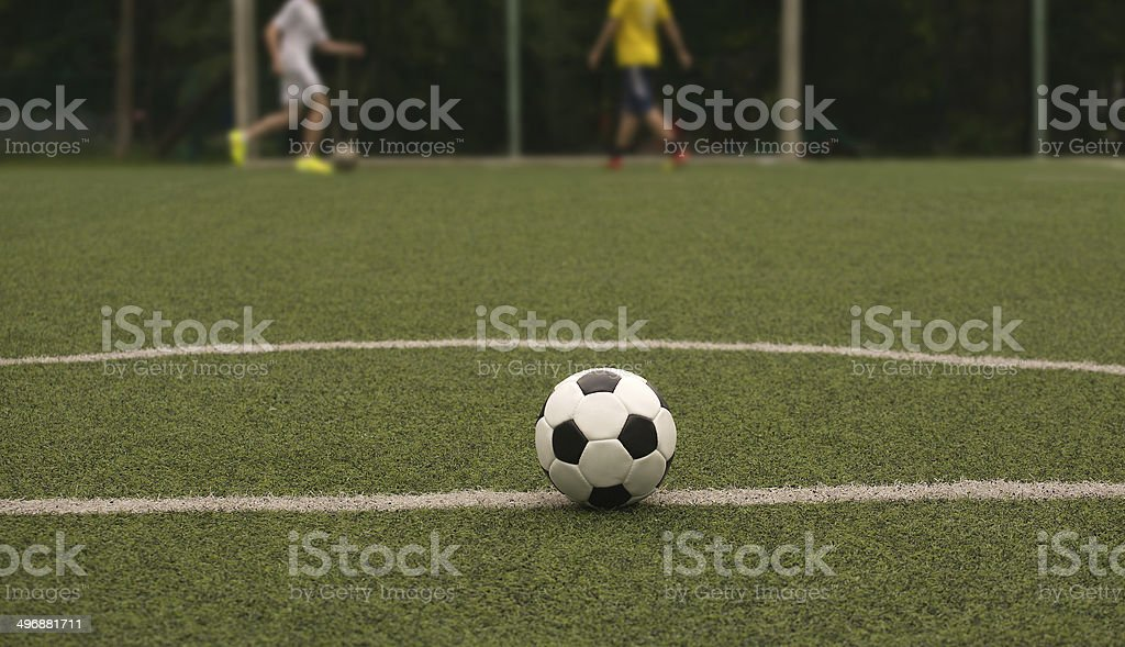 White and black ball for playing soccer and playing sportsmens royalty-free stock photo
