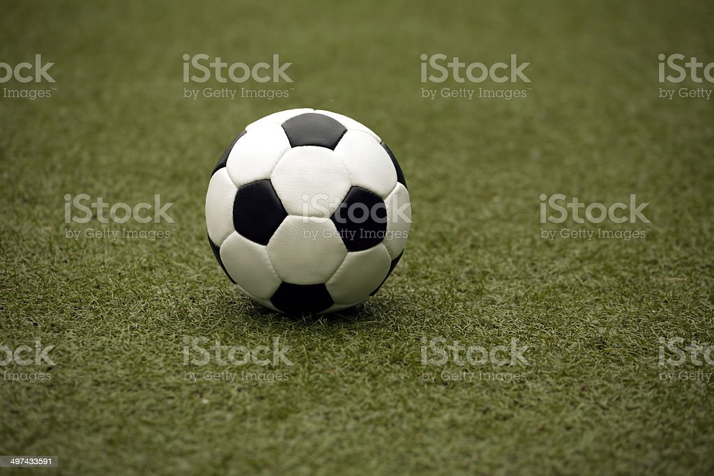 White and black ball for playing soccer close-up royalty-free stock photo