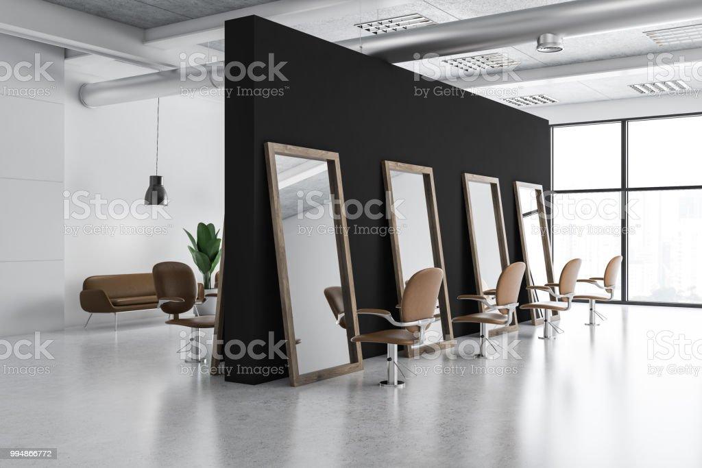 White and black barber shop corner stock photo