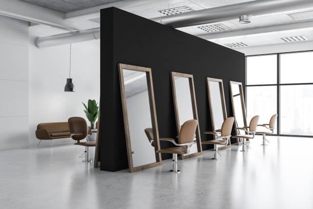 white and black barber shop corner - hairdresser стоковые фото и изображения