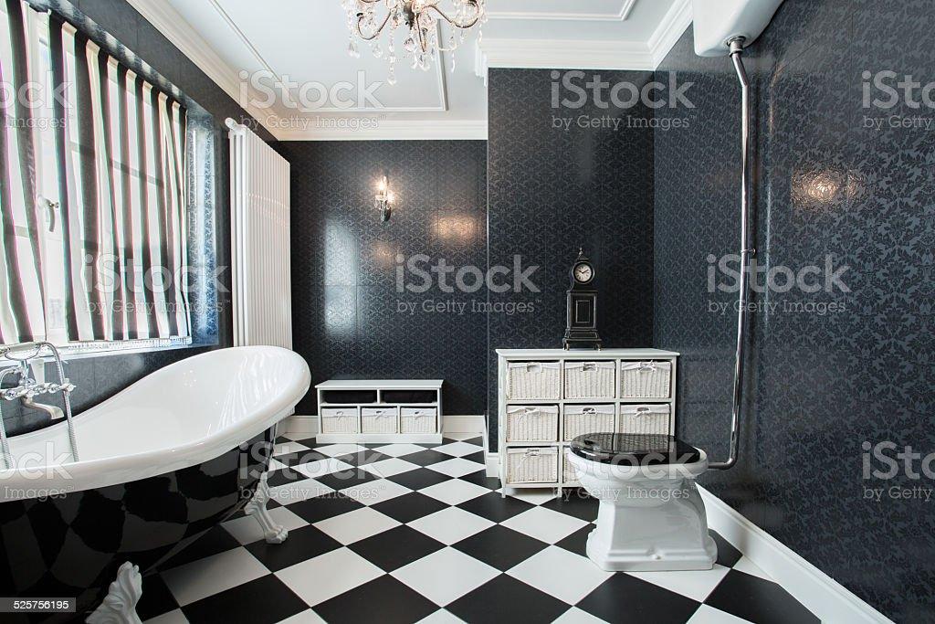 Bagno bianco e nero fotografie stock e altre immagini di a quadri