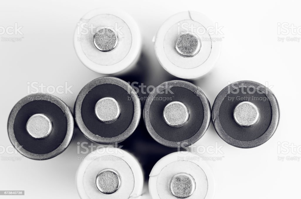White And Black Batteries royalty-free stock photo