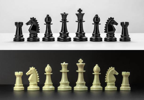 figuras de ajedrez blanco y negro aisladas sobre fondo blanco y negro. - set deportivo fotografías e imágenes de stock