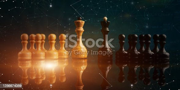 istock White And Black Chess Pieces, Collage With Formulas, Green Background 1256674059
