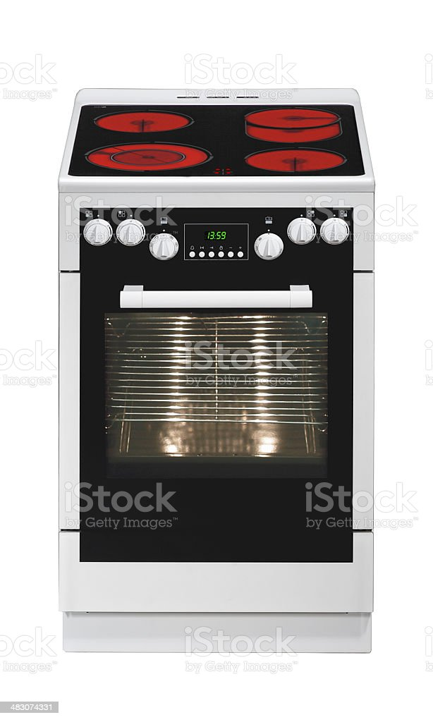 White and black electric stove with oven royalty-free stock photo