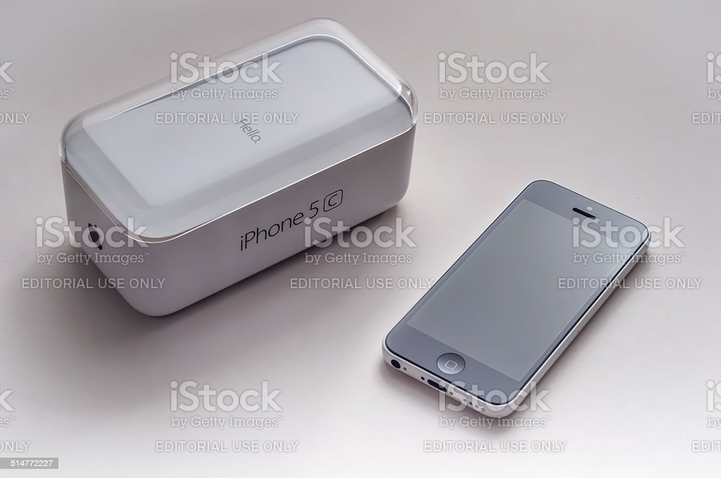 White and Black iPhone 5c stock photo