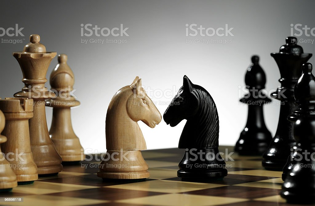 White and black knights royalty-free stock photo