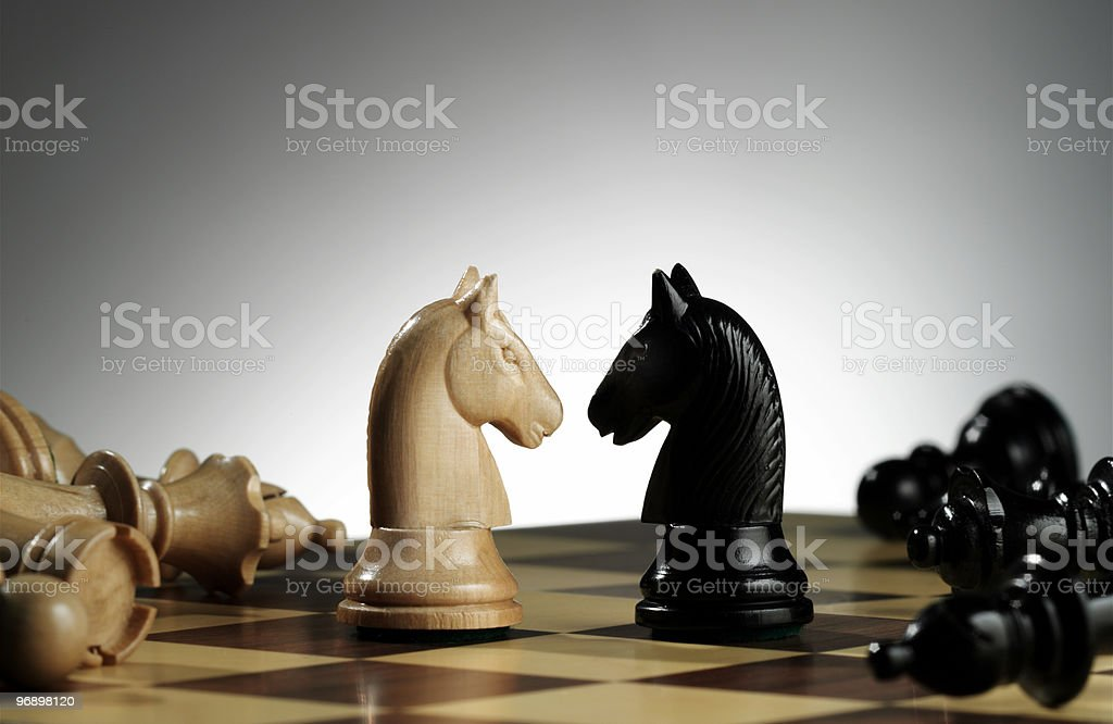 White and black knights stock photo