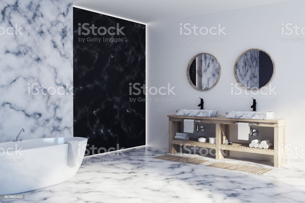 White And Black Marble Bathroom Side Stock Photo Download Image Now Istock