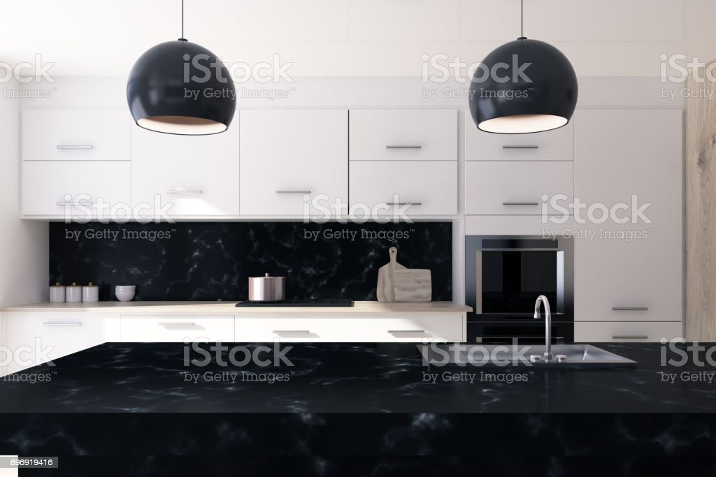 White And Black Marble Kitchen Stock Photo Download Image Now Istock