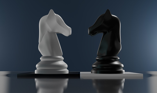 White and Black Plain Chess, Knights Chess Piece- Brain Games. Board Games