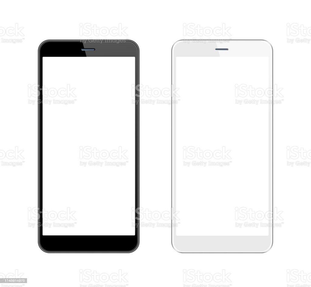 Smartphone blanco y negro con pantalla en blanco. Plantilla de teléfono móvil. Copiar espacio - Foto de stock de Aplicación para móviles libre de derechos