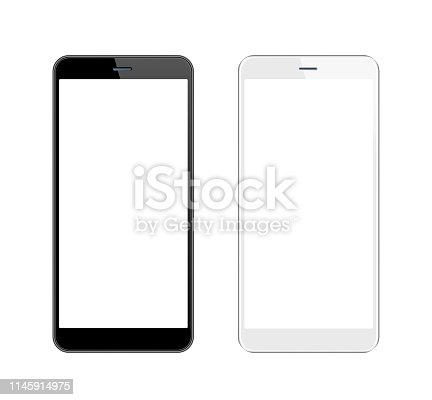 istock White and Black Smartphone with Blank Screen. Mobile Phone Template. Copy Space 1145914975