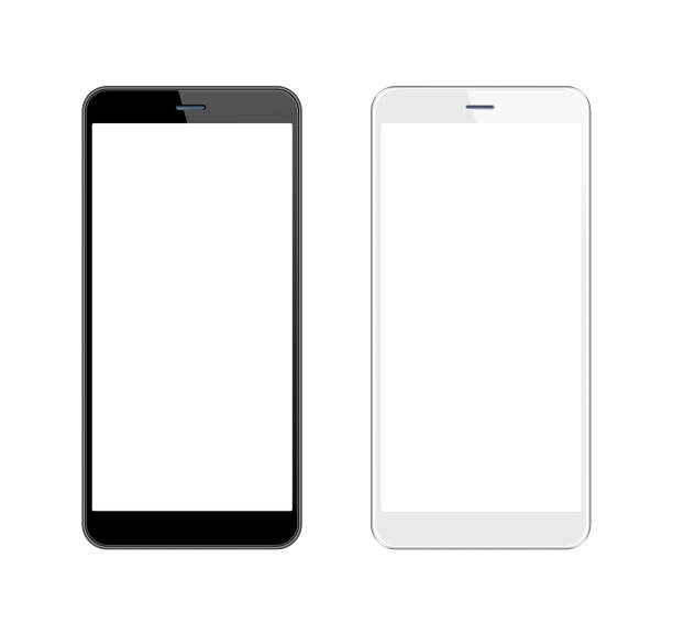 white and black smartphone with blank screen. mobile phone template. copy space - dispositivo informatico portatile foto e immagini stock