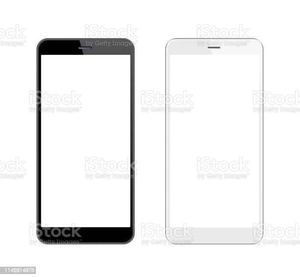 Smartphone Blanco Y Negro Con Pantalla En Blanco Plantilla De Teléfono Móvil Copiar Espacio Foto de stock y más banco de imágenes de Aplicación para móviles