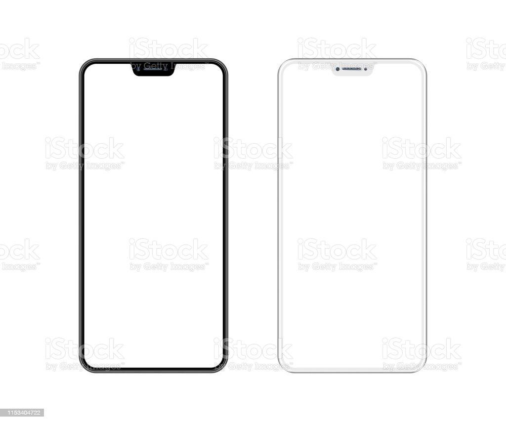 Beyaz ve siyah akıllı telefon ile boş ekran. Cep telefonu şablonu. Kopyalama alanı - Royalty-free App Stok görsel