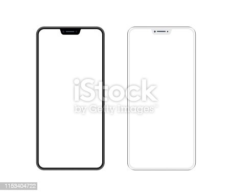 istock White and Black Smartphone with Blank Screen. Mobile Phone Template. Copy Space 1153404722