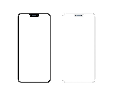 White and Black Smartphone with Blank Screen. Mobile Phone Template. Copy Space