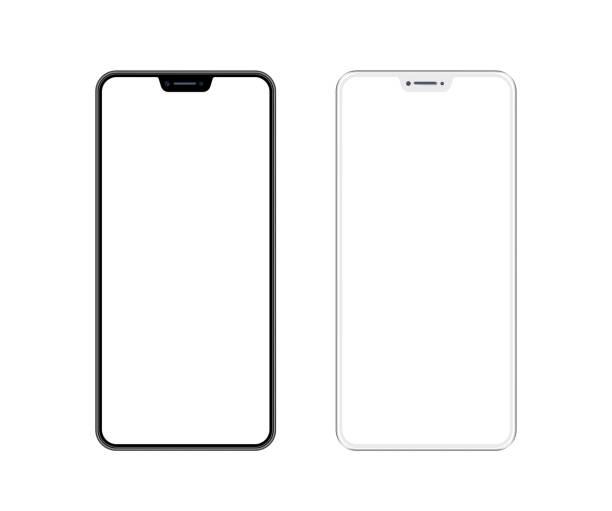 smartphone bianco e nero con schermo vuoto. modello di telefono cellulare. copia spazio - smart phone foto e immagini stock