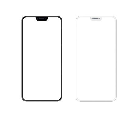 Beyaz Ve Siyah Akıllı Telefon Ile Boş Ekran Cep Telefonu Şablonu Kopyalama Alanı Stok Fotoğraflar & App'nin Daha Fazla Resimleri