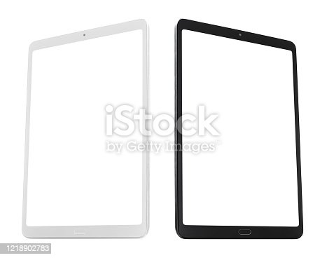 White and black tablets with blank screens, isolated on white background