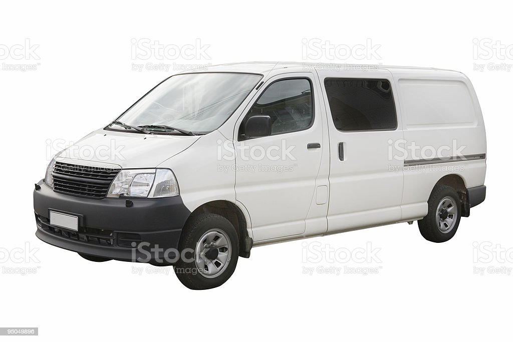 A white and black van on a white background royalty-free stock photo