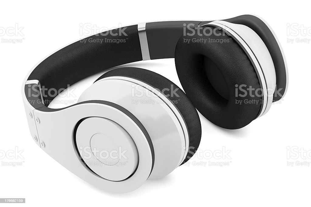 white and black wireless headphones isolated royalty-free stock photo