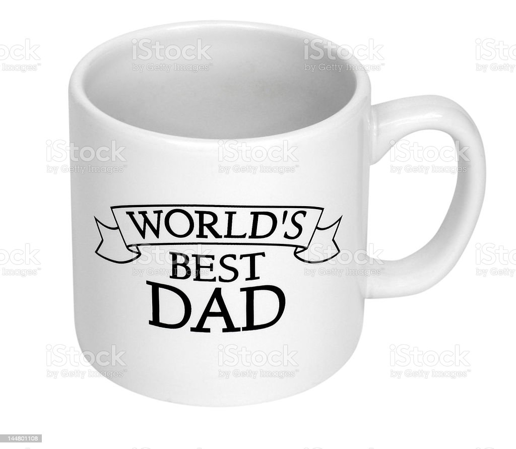 White and black world's best dad coffee cup stock photo