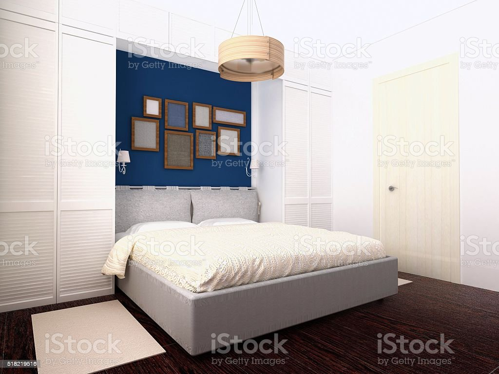 White and blue bedroom stock photo