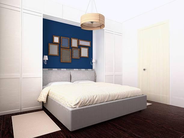weiß und blau schlafzimmer - paletten kopfbrett stock-fotos und bilder